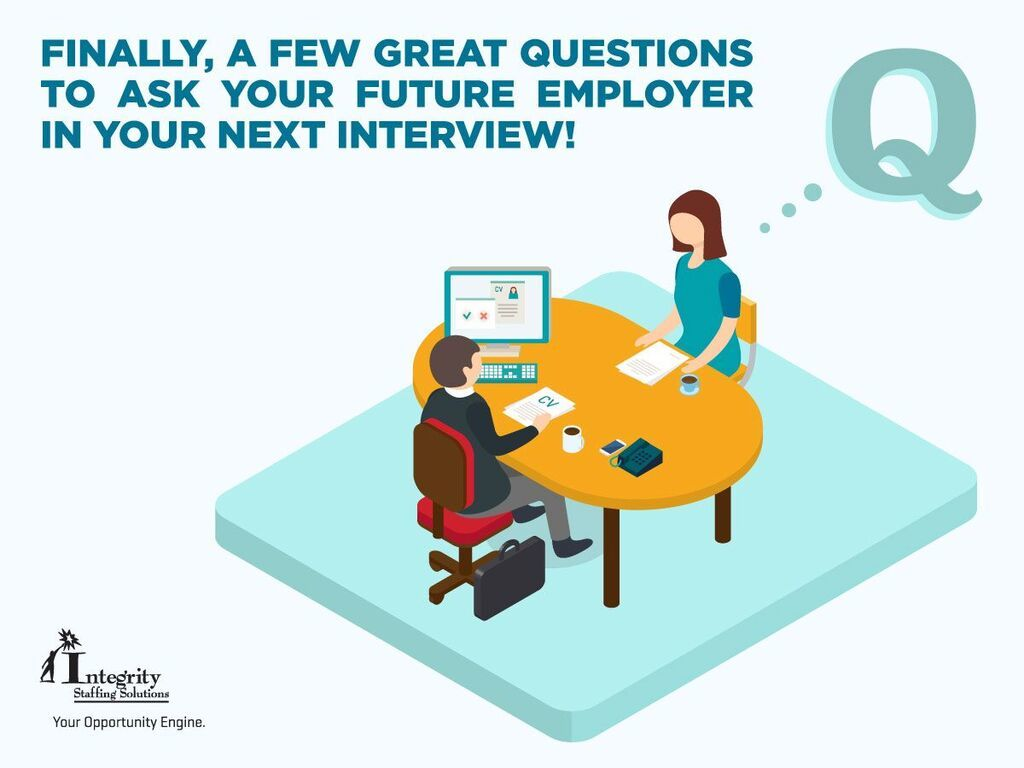 integrity staffing solutions finally a few great questions to finally a few great questions to ask your future employer in your next interview