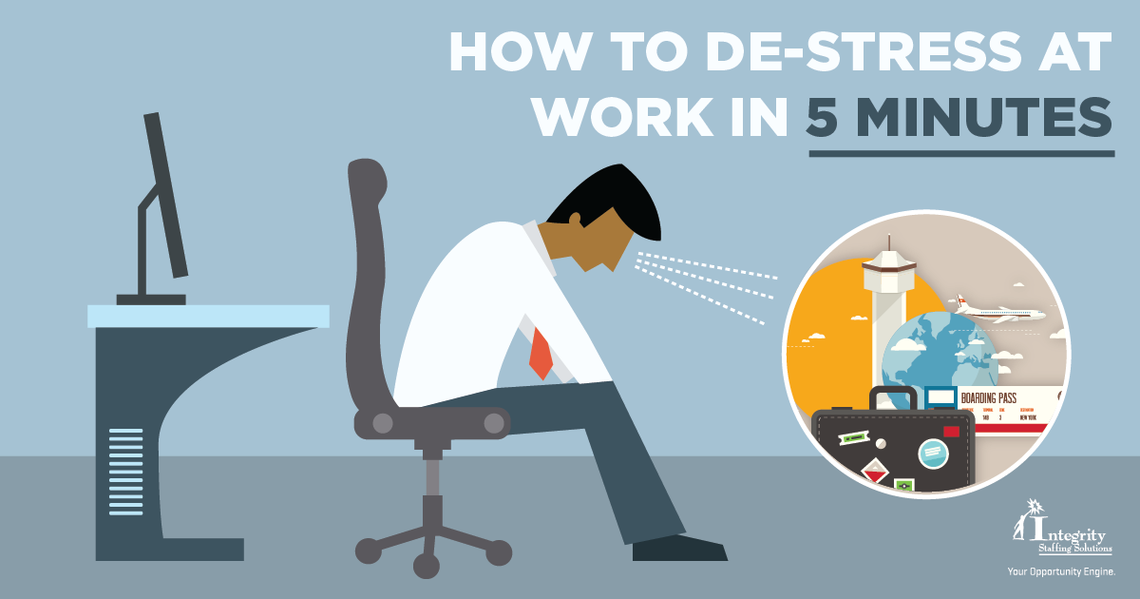 blog how to de stress at work in 5 minutes facebook ad 1200x630