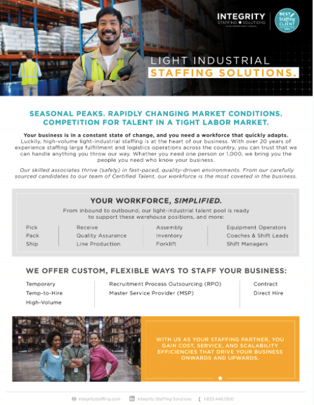 Light Industrial & Logistics Staffing Solutions - Integrity Staffing Solutions