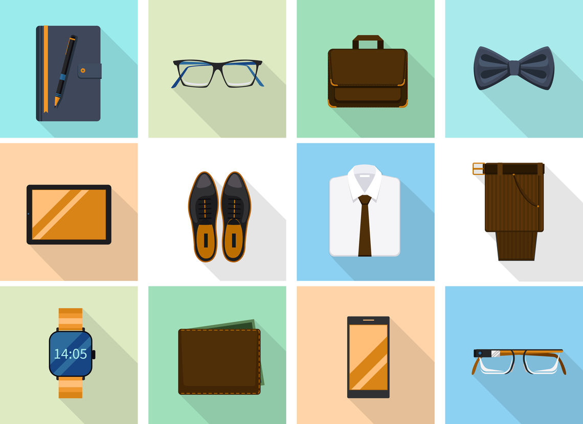 1504 m00 i125 n017 s c10 231031402 businessman clothes and gadgets icons in flat style