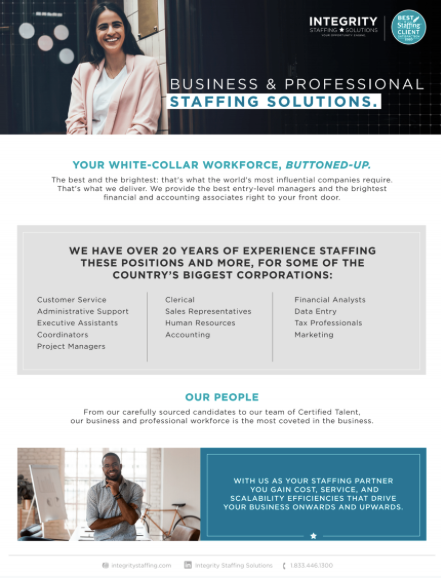 Business & Professional Staffing Solutions - Integrity Staffing Solutions
